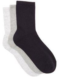 Raey - - Set Of Three Sea Island Cotton Blend Socks - Womens - Grey Multi - Lyst
