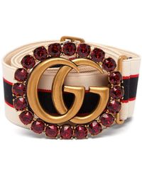 Gucci - Crystal Embellished Butterfly Elastic Belt - Lyst