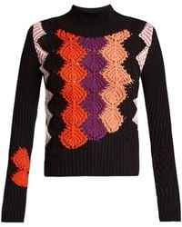 Peter Pilotto - Crochet-panel Ribbed-knit Cotton-blend Sweater - Lyst