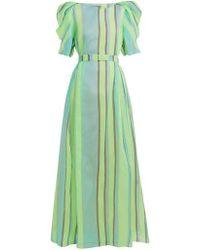 Vika Gazinskaya - Puff-sleeved Striped Organza Gown - Lyst