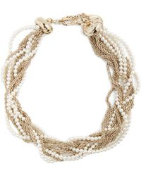 Lanvin - Twisted Faux-pearl And Chain Necklace - Lyst