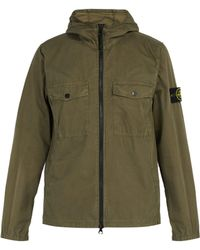 Stone Island - Hooded Zip Through Cotton Overshirt - Lyst