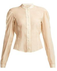 Lemaire - Cotton And Silk-blend Panelled Blouse - Lyst