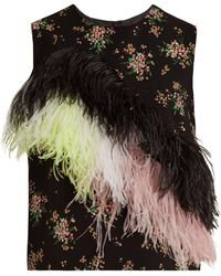 MSGM - Feather-embellished Floral-print Crepe Top - Lyst