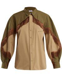 Toga - Fringed Cotton Blend Western Shirt - Lyst
