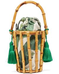 Glorinha Paranagua Lineia Leaf Print Canvas And Bamboo Cage Bag - Green