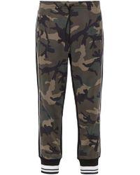 Valentino Camouflage Print Contrast Stripe Track Pants