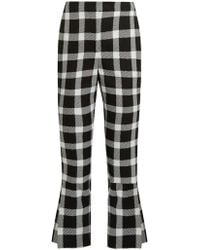 Christopher Kane - Checked Wool-blend Cropped Trousers - Lyst