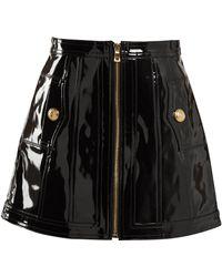 Balmain - High Rise Patent Leather Skirt - Lyst