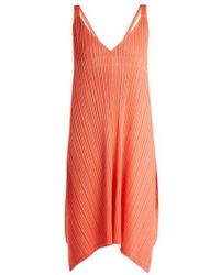 Pleats Please Issey Miyake - - Pleated V Neck Dress - Womens - Coral - Lyst