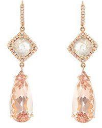 NSR Nina Runsdorf - Diamond, Morganite & Pink-gold Earrings - Lyst