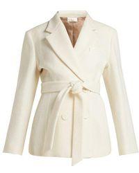 Sara Battaglia - Double Breasted Tie Waist Wool Blend Jacket - Lyst