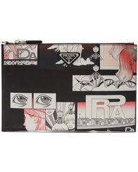 Prada - Comic-print Leather Pouch - Lyst