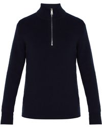 Burberry - Knight Embroidered Half Zip Cashmere Jumper - Lyst