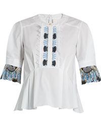 Peter Pilotto | Macramé-lace Trimmed Cotton Top | Lyst