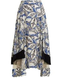 Toga - Abstract Floral-print Panelled Midi Skirt - Lyst