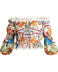 Dolce & Gabbana | Majolica-print Off-the-shoulder Cropped Top | Lyst