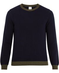 Paul Smith - Navy Lambswool Sweater With Contrast Trims - Lyst