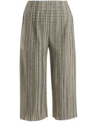 Pleats Please Issey Miyake - Gingham Pleated Cropped Trousers - Lyst