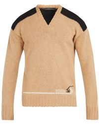 Prada - V-neck Shoulder Panel Wool Sweater - Lyst