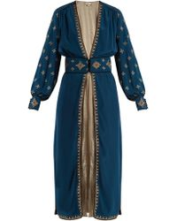 Talitha - Cross-embroidered Silk-crepe Robe - Lyst