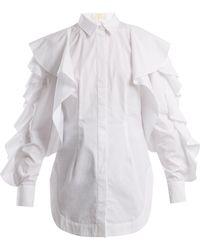 Sara Battaglia - Ruffled Cotton-poplin Shirt - Lyst
