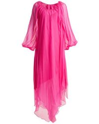 Anna October - Gathered Balloon-sleeved Silk-georgette Dress - Lyst