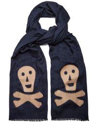 Loewe - Skull-appliqué Logo-jacquard Wool-blend Scarf - Lyst