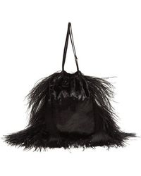 Attico - - Feather Trimmed Velvet Drawstring Pouch - Womens - Black - Lyst