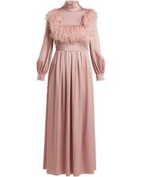 Valentino - Ostrich Feather-trim Cady Gown - Lyst