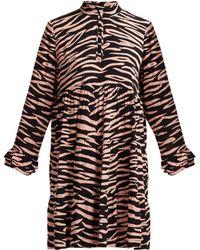Ganni - Lindale Zebra Print Tiered Satin Dress - Lyst