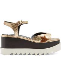 Stella McCartney | Elyse Python-effect Faux-leather Platform Sandals | Lyst