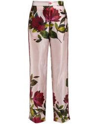F.R.S For Restless Sleepers Carite Magnolia Print Satin Wide Leg Pants