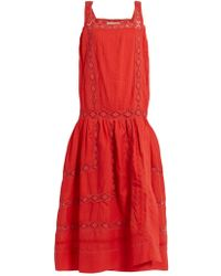 Queene And Belle - Aimee Square-neck Embroidered Cotton-voile Dress - Lyst