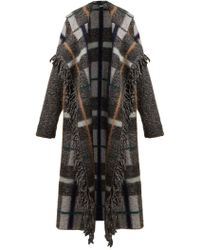 Stella McCartney - Fringed Checked Wool Blend Coat - Lyst