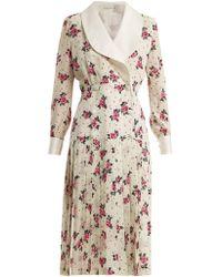 Alessandra Rich - Rose-print Silk Crepe De Chine Dress - Lyst
