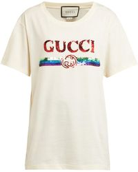 39bd072f923a Gucci Diamond Print Cotton Jersey T-shirt in Red - Lyst