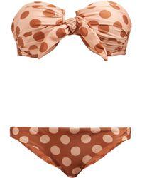 Zimmermann - Primrose Polka Dot Print Bandeau Bikini - Lyst
