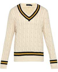 Polo Ralph Lauren - V Neck Cotton And Cashmere Blend Cricket Jumper - Lyst