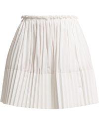 Chloé - Pleated Cotton Mini Skirt - Lyst