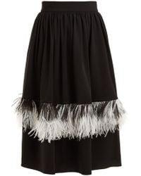 Christopher Kane - Feather-embellished Wool-blend Midi Skirt - Lyst