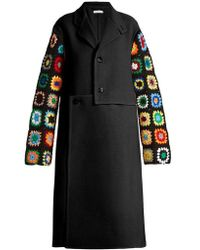 JW Anderson - Crochet-sleeve Wool-blend Twill Coat - Lyst
