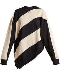 Marques'Almeida | Asymmetric-hem Striped Cotton Sweatshirt | Lyst