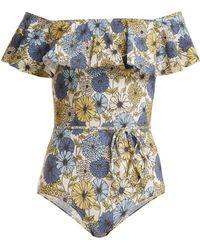 Lisa Marie Fernandez - Mira Floral-print Off-shoulder Swimsuit - Lyst