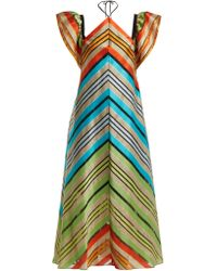 Mary Katrantzou - Kahlo Chevron Stripe Organza Dress - Lyst