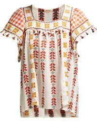 Dodo Bar Or - Teresa Tasselled Embroidered Cotton-jacquard Blouse - Lyst