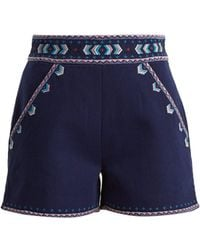 Talitha - Embroidered High-rise Cotton-twill Shorts - Lyst