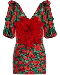 Gucci - Flower Embellished Ruched Silk Mini Dress - Lyst