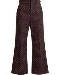 Chloé | Embroidered-dot Cotton Trousers | Lyst