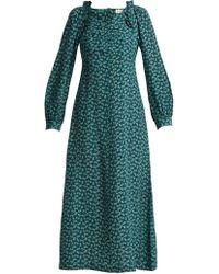 MASSCOB - Provence Floral Print Silk Midi Dress - Lyst
